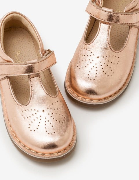 Leather T-Bar Flats - Rose Gold