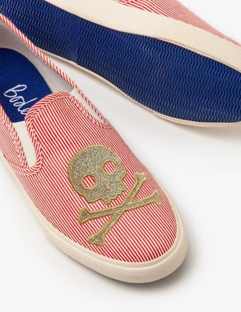 Embroidered Slip-On Shoes - Circus Red/Ecru