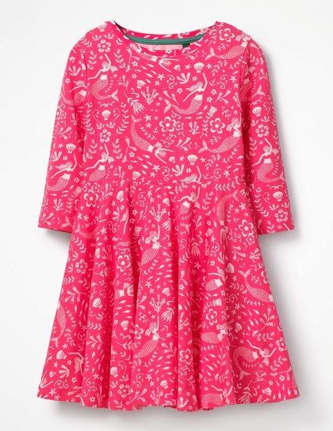 Twirly Jersey Dress Strawberry Split Pink Mermaids Girls Boden