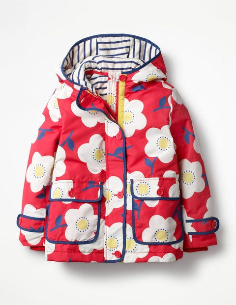 Jersey-lined Anorak Circus Red Big Daisies Girls Boden