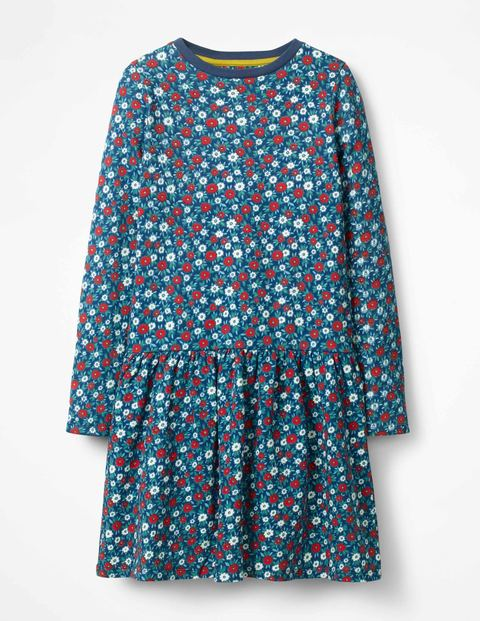 Sweatshirt Dress Starboard Blue Ditsy Floral Girls Boden
