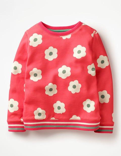 Cosy Printed Sweatshirt Strawberry Split Pink Daisies Girls Boden