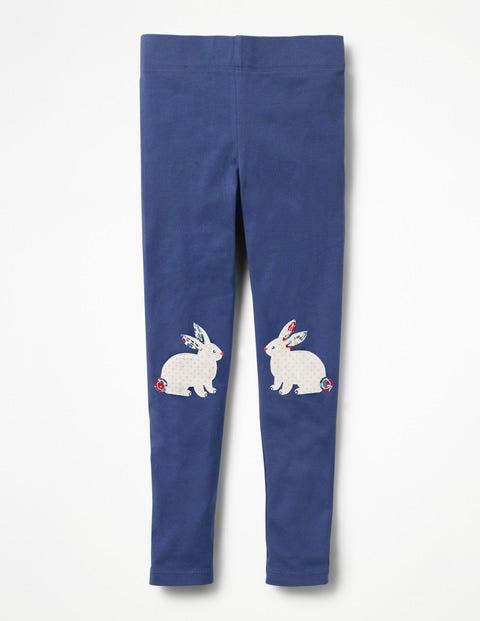 Appliqué Leggings - Starboard Blue Floral Bunnies