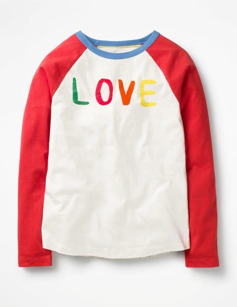 Love Birds T-shirt Ivory/Circus Red Love Girls Boden