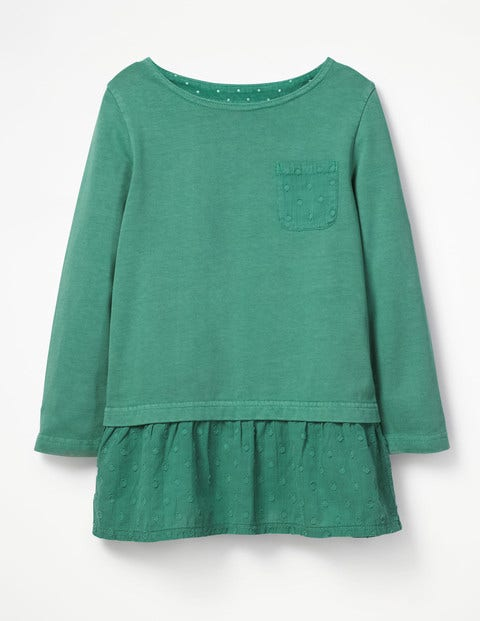Floaty Jersey Woven Top - Jungle Green