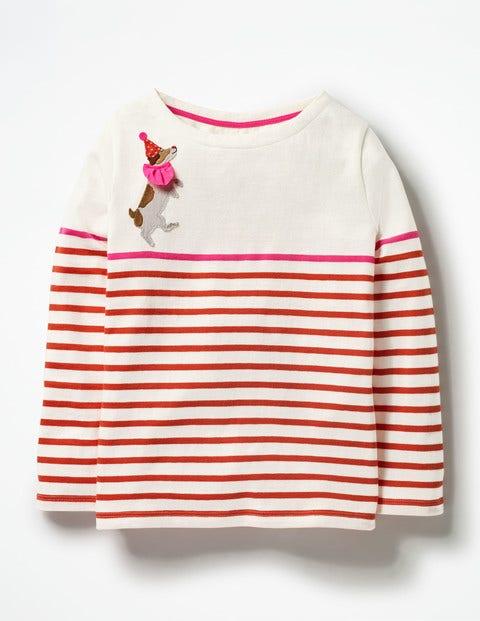 Jolly Fun Breton Rosehip Red/Neon Pink Dog Girls Boden