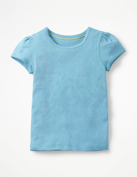 Short-Sleeved Pointelle Top - Grotto Blue