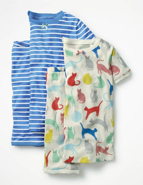 Twin Pack Short John Pyjamas - Ivory Cats/Penzance Blue