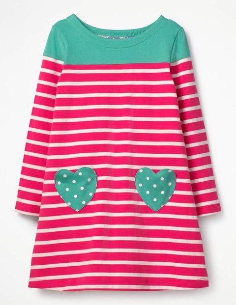 Heart Pocket Jersey Dress Strawberry Split Pink/Ecru Girls Boden