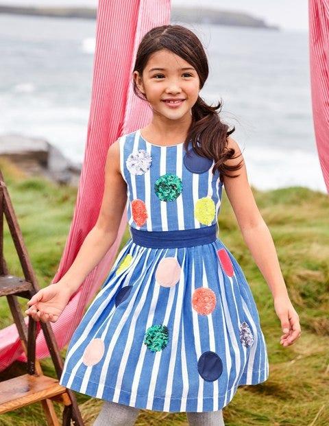 Bright Sequin Spotty Dress - Penzance Blue Stripes