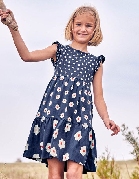 Tiered Jersey Dress - Starboard Blue Daisies