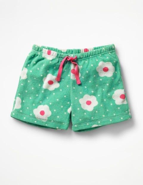 Adventure Towelling Shorts - Summer Green Daisy Dots