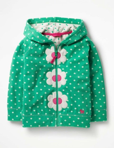 Towelling Zip-Up Hoodie - Summer Green/Ivory Spot Flower