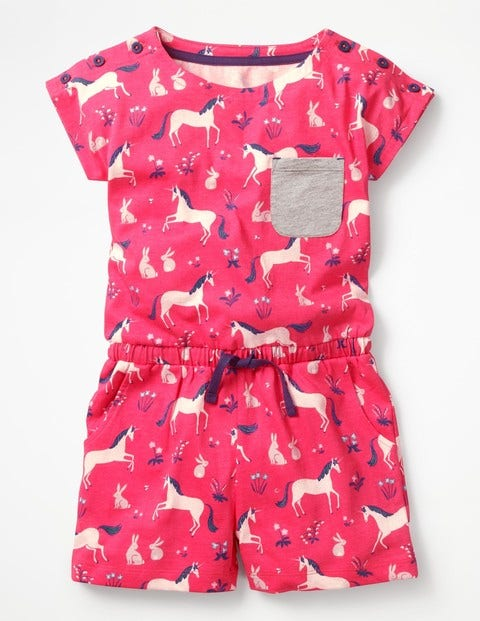 Colourful Jersey Romper Strawberry Split Pink Unicorns Girls Boden