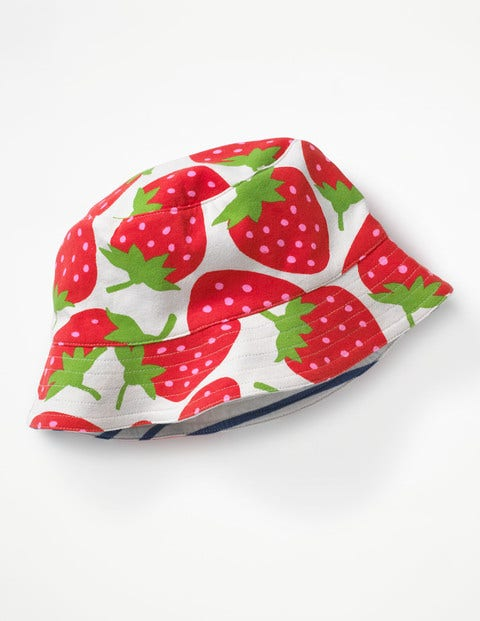 Jersey Reversible Hat - Ecru Sweet Strawberry