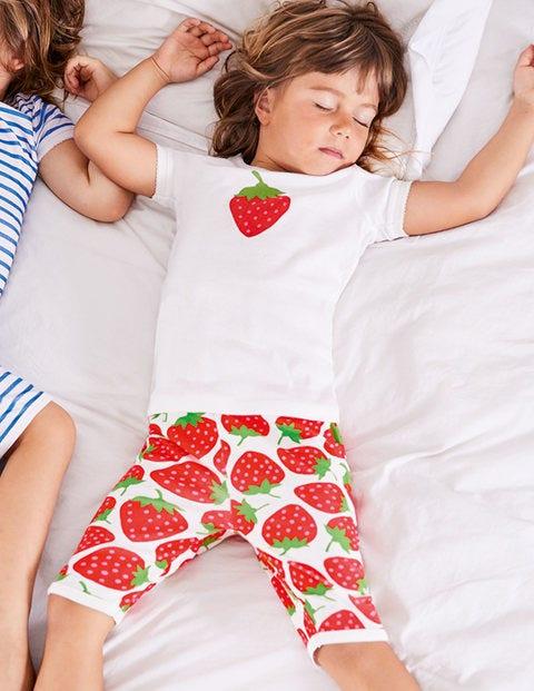 Twin Pack Short John Pyjamas - Ivory Sweet Strawberry/Blue