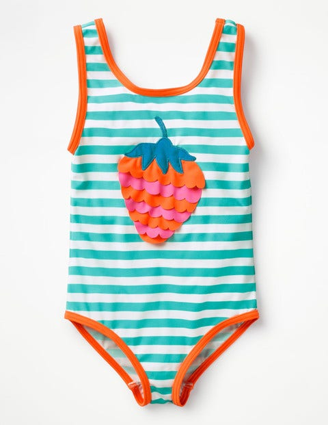 Fun Detail Swimsuit - Light Green/Ivory Strawberry