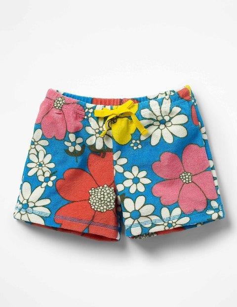 Adventure Towelling Shorts - Blue Flower Power