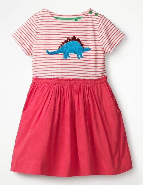 Sequin Colour-Change Dress - Strawberry Split Pink Dinosaur