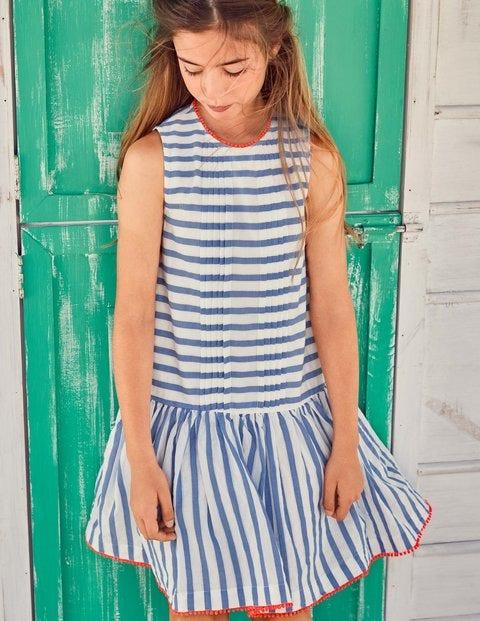 Drop-Waist Woven Dress - Penzance Blue Leno Stripe