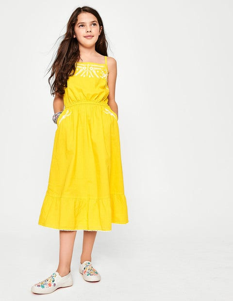 Tiered Embroidered Dress - Sunshine Yellow