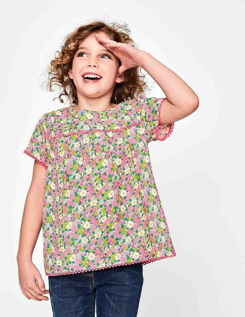 Pretty Woven Top - Knockout Pink Vintage Floral