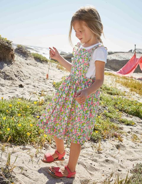 Rüschenkleid Mit Gekreuzten Rückenträgern - Knallrosa mit Vintage-Blumendesign