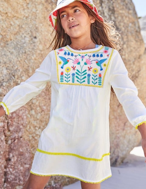 Pretty Embroidered Kaftan - Ecru