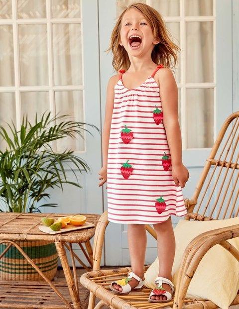 Sequin Jersey Sundress - Ivory/Strawberry Split Pink