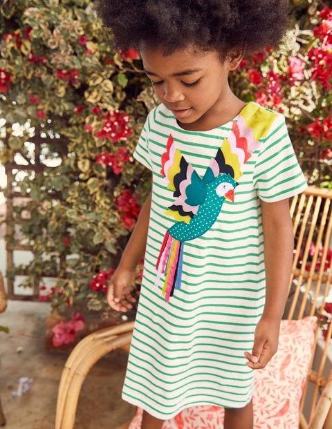 Animal Appliqué Dress - Peppermint Green Stripe Parrot