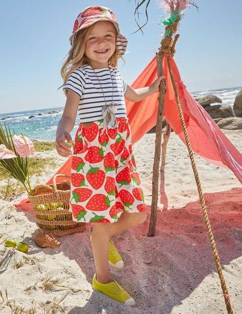 Bright Hotchpotch Jersey Dress - Ecru Sweet Strawberries