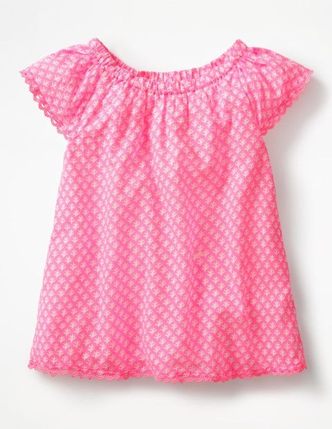 Lace Trim Floaty Top - Knockout Pink/Ivory Geo Coral