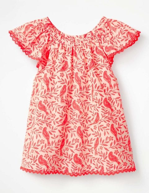 Lace Trim Floaty Top - Fluoro Coral Lino Birds