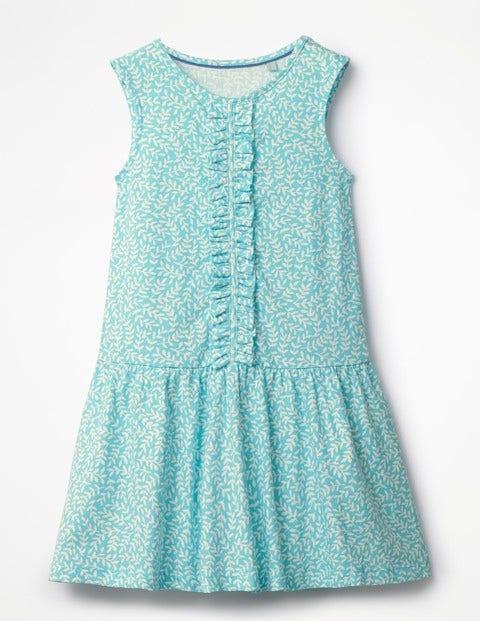 Vintage Style Children's Clothing: Girls, Boys, Baby, Toddler Jersey Ruffle Dress Blue Girls Boden Blue £24.00 AT vintagedancer.com