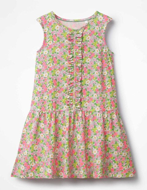 Jersey Ruffle Dress - Knockout Pink Vintage Floral