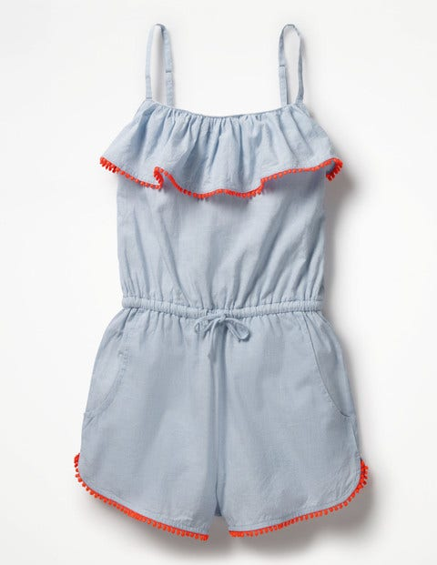 Kids 1950s Clothing & Costumes: Girls, Boys, Toddlers Strappy Frill Playsuit Blue Girls Boden Blue £25.60 AT vintagedancer.com