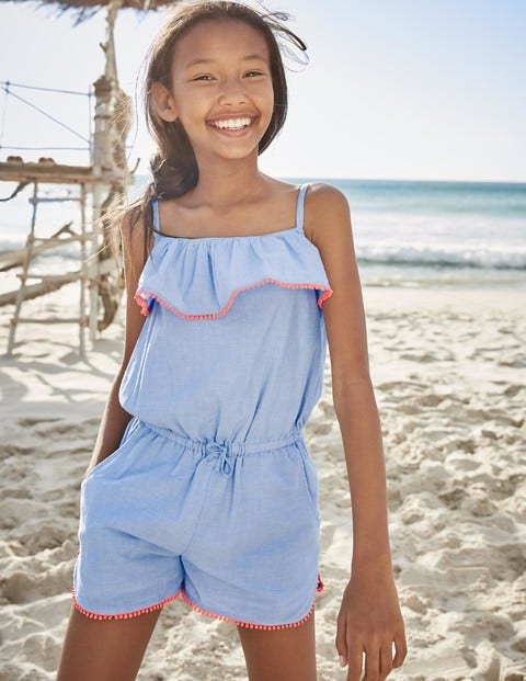 13ee2175198 Strappy Frill Romper - Chambray Blue