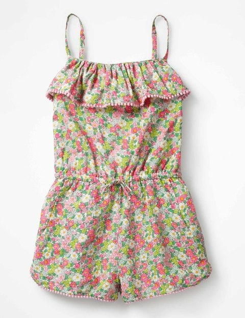 Strappy Frill Playsuit - Knockout Pink Vintage Floral