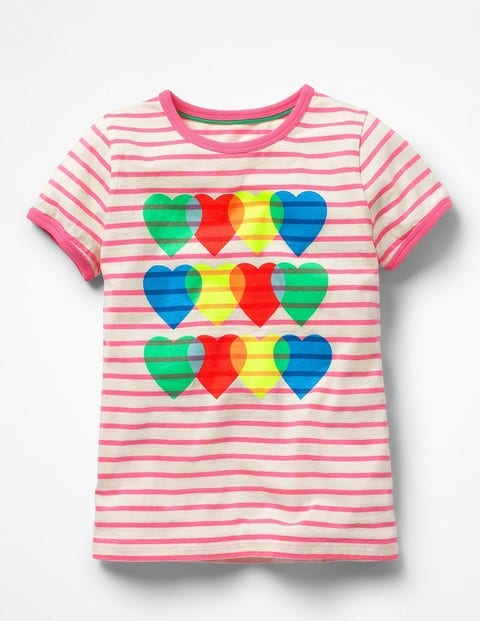Bright Print T-Shirt - Ivory/Knockout Pink Hearts