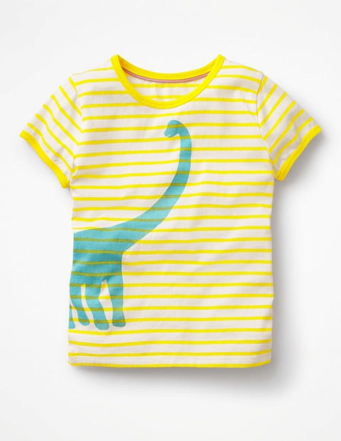 Bright Print T-Shirt - Ivory/Sunshine Yellow Dinosaur