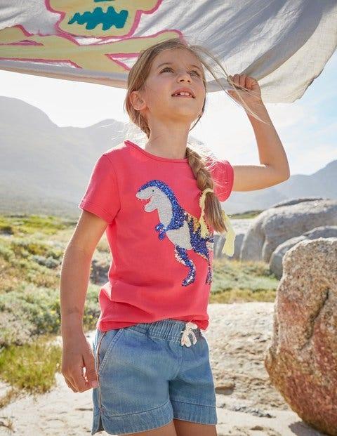 Sequin Appliqué T-Shirt - Strawberry Split Pink T-Rex