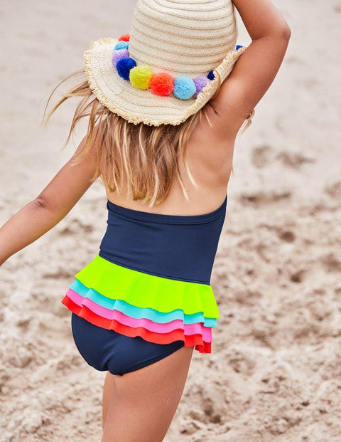 Ruffly Swimsuit - Deep Sea/Rainbow