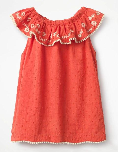 Vintage Style Children's Clothing: Girls, Boys, Baby, Toddler Frill Embroidered Yoke Top Red Girls Boden Red £24.00 AT vintagedancer.com
