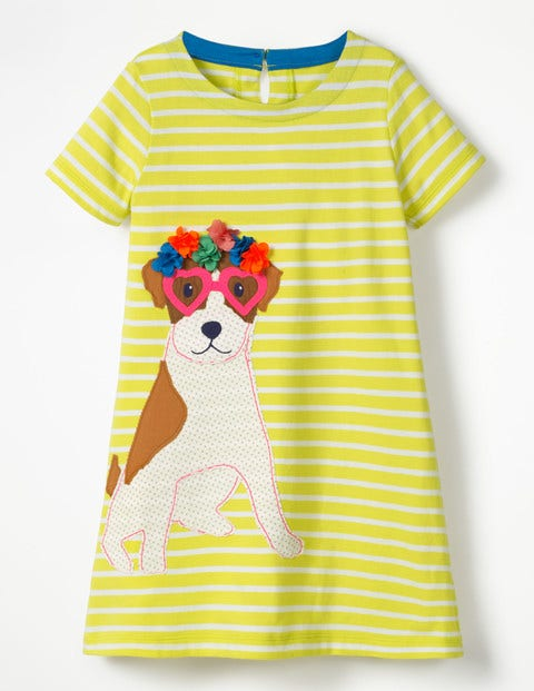 Vacation Appliqué Dress - Ivory/Zest Yellow Sprout