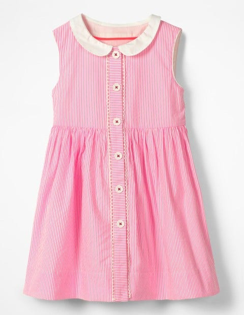 Nostalgic Collar Dress - Knockout Pink Ticking