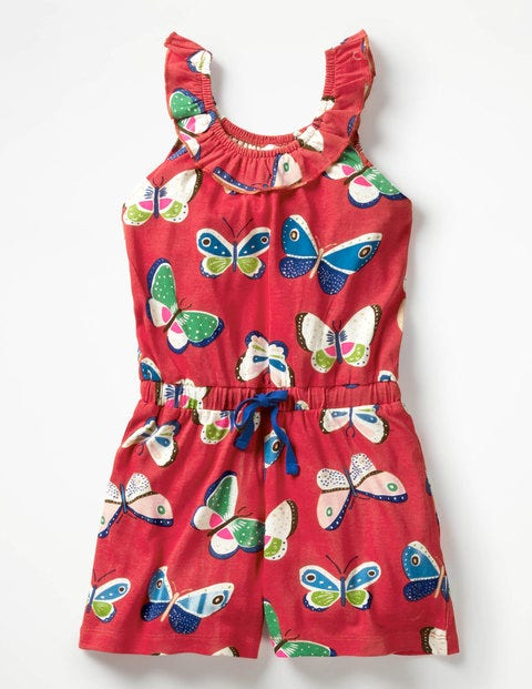 Printed Jersey Playsuit - Papillons framboise