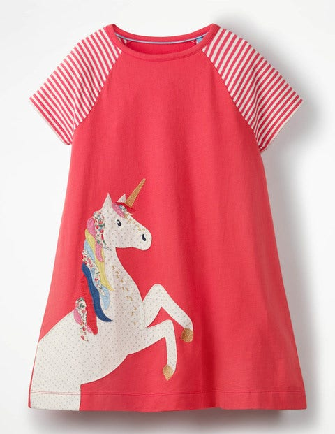 Unicorn Applique Jersey Dress - Pink Berry Unicorn