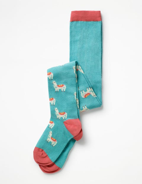 Patterned Tights - Aquamarine Llama