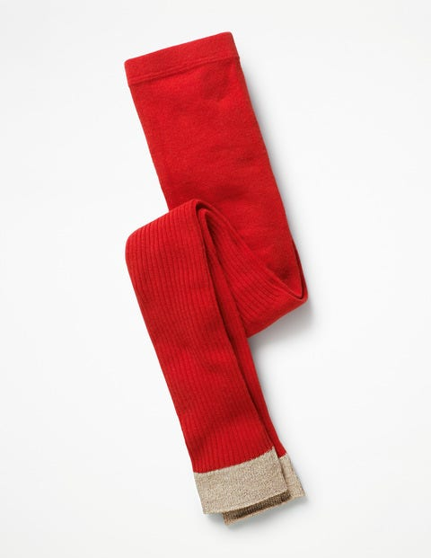 Fußlose Rippenstrumpfhose - Lackrot