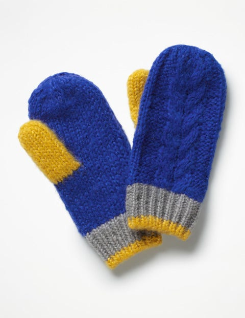 Cable Mittens - Cobalt Blue